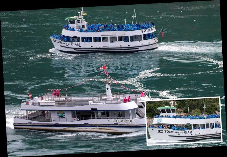 Us Tourist Boat At Niagara Falls Is Packed With People While Those On Canadian Vessel Next To It Are Socially Distanced The Sun Celebrity Cover News